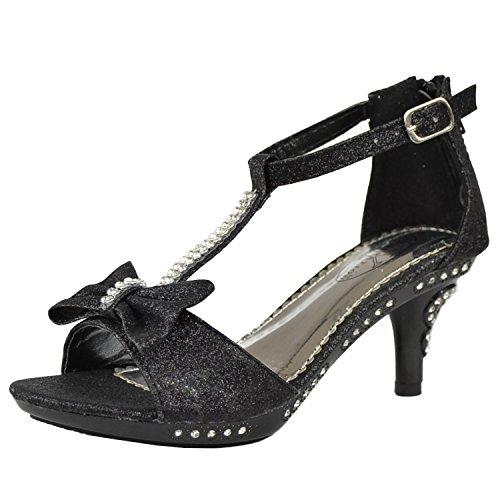 b399fd23821 Kids Dress Sandals T-Strap Bow Accent Glitter High Heels Girls Shoes ...