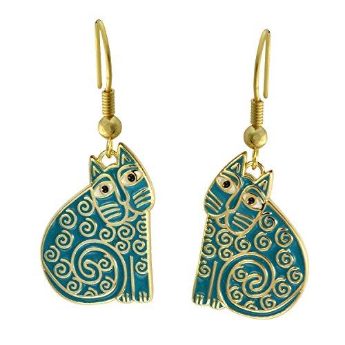 (Laurel Burch Classics Collection Jubilee Cat Drop Earrings)