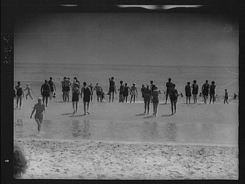 Photo: Beach scene,swimmers,East Hampton,Long Island,New York,NY,Arnold Genthe,1933 (Island Ny Long Beach)