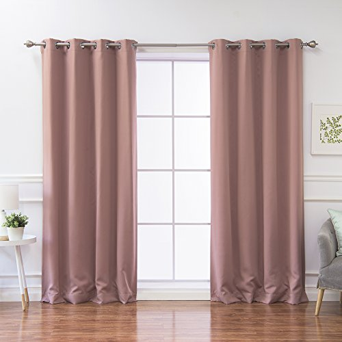 Best Home Fashion Thermal Insulated Blackout Curtains – Stainless Steel Nickel Grommet Top – Mauve – 52″W x 96″L – (Set of 2 Panels) Review