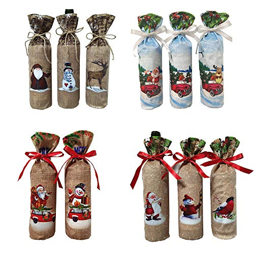 Pausseo 11-Pack Merry Christmas Santa Claus Wine Bottle Gift Bags Cover Set Reindeer Tree Wine Bottle Covers for Dress up Wine Bottle,Party Decorations,Xmas Ornaments Dinner Party Tables Decor