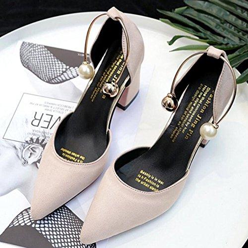 Beige para Tacones Zapatos mujer Summer GAOLIXIA Basic cuero Borgoña Beige PU Rosa de Negro Casual Pump de fwqdxwzvO