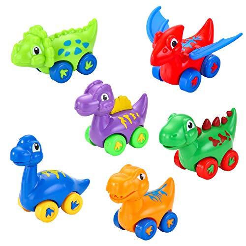 [해외]Lukat 철수 카 장난감 유아 장난감 자동차 공룡 차 교육 완구 미니 키즈 어린이 1 세 2 세 3 세 아기 소년 방향 아 주변에 선물 선물 안전 비 독성 튼튼한 고품질 ABS 소재 (6 개 세트) / Lukat Pullback Car Toy Infant Toy Car Dinosaur Car Educa...