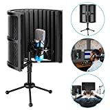 Neewer Tabletop Compact Microphone Isolation Shield with Tripod Stand, Mic Sound Absorbing Foam