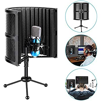 neewer tabletop compact microphone isolation shield with tripod stand mic sound. Black Bedroom Furniture Sets. Home Design Ideas
