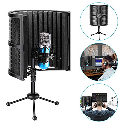 Neewer Tabletop Compact Microphone Isolation Shield with Tripod Stand