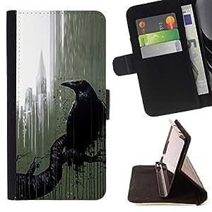 """For LG G4,S-type Ciudad Nyc Ventana Lluvia Arte Negro"""" - Dibujo PU billetera de cuero Funda Case Caso de la piel de la bolsa protectora"""
