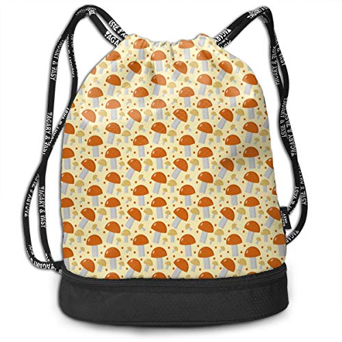 Unisex Drawstring Backpack Mushrooms Boletus Edulis Orange Sport Gym Drawstring Bag