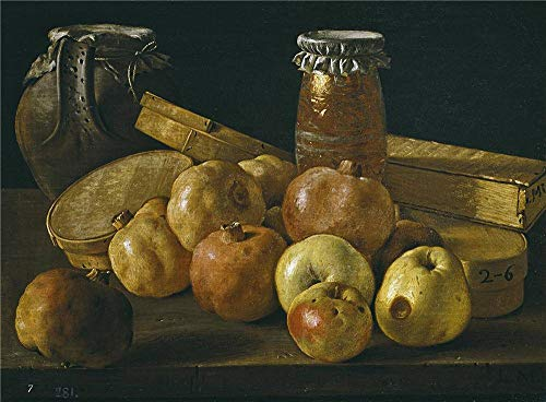 High Quality Polyster Canvas ,the Vivid Art Decorative Canvas Prints Of Oil Painting 'Melendez Luis Egidio Bodegon Granadas Manzanas Tarros Y Cajas De Dulce Third Quarter Of 18 Century ', 8 X 11 Inch / 20 X 28 Cm Is Best For Bathroom Artwork And Home Gallery Art And Gifts