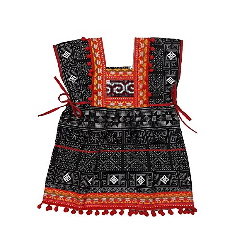 Unique Woven Cotton Ethnic Thai Girl Dress Hand Made Embroidered Costume Traditional Pompoms 3 to 4 Year Old ()