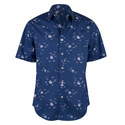 Campia Moda Men's Washed Cotton Modern Fit Print Shirt (Navy Abstract Bird and Ship Print, M) Abstract Button