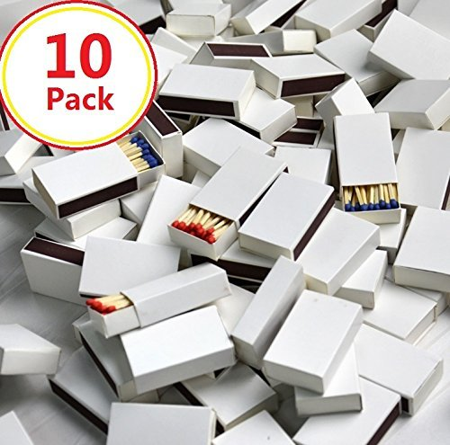 BlueSunshine 10 Pack White Cover Wooden Matches Box, 25 count Strike on Box Kitchen Camping Fire Starter Lighter (Matches 300 Pack)