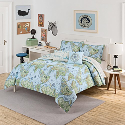 2 Piece Kids World Map Globe Themed Comforter Twin Set, Fun All Over Graph Print Island Country Continent Compass Atlas Bedding, Reversible Animal Themed Pattern, Blue Green White, Microfiber by un (Image #1)