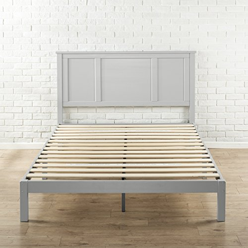 Zinus Andrew Wood Country Style Platform Bed with Headboard / No Box Spring Needed / Wood Slat Support, King