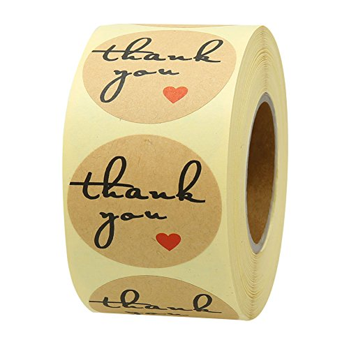 Red Heart Labels (Hcode 500 Natural Kraft Paper Round Thank You Stickers with Red Heart 1.5 inch Adhesive Label(1 roll))