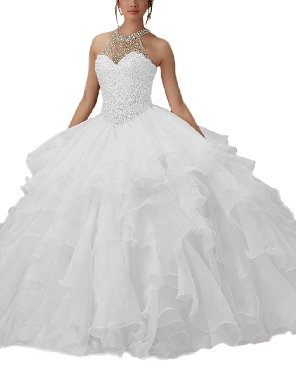 White ANGELA Women's Halter Beads Ball Gown Quinceanera Dresses Organza Long Prom Dress
