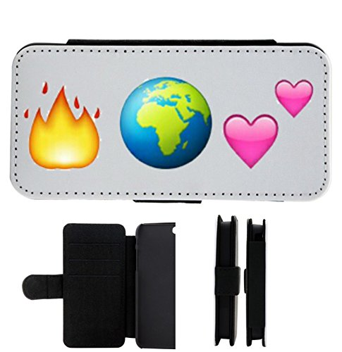 """Leder Flip Case Apple IPhone 5C """"Feuer und Weltkugel ist gleich Zwei Herzen (Liebe)"""", der wohl schönste Smartphone Schutz aller Zeiten."""