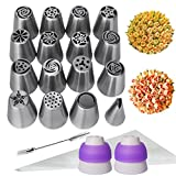 WEBSUN Russian Piping Tips Set 29pcs Cake Frosting Icing Decorating Tips Kit, 15 Piping Nozzles 1 Leaf Tip 2 Tri-Color Couplers 10 Disposable Pastry Bags 1 Cleaning Brush
