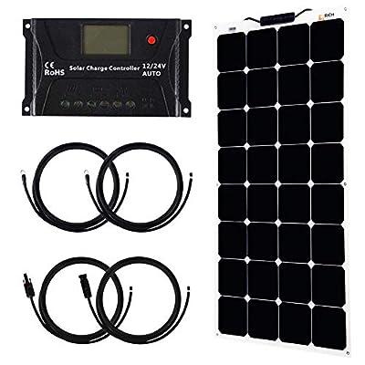 100 Watt 12V Solar Kit Bendable Flexible Solar Charger SunPower Solar Module with MC4 for RV, Boat, Cabin, Tent, Car, Trailer