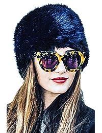 Zamtapary Women Winter Warm Faux Fur Russian Hat Blue One Size