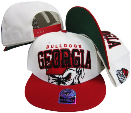 Georgia Bulldogs Two Tone Big Logo Plastic Snapback Adjustable Plastic Snap Back Hat / Cap