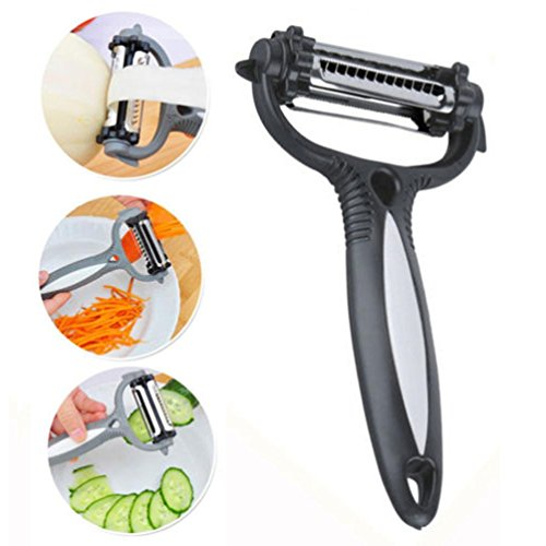 (Connia Amazing Creative 3 in 1 Rotary Fruit Vegetable Carrot Potato Useful Peeler Cutter Slicer in the Kitchen (Black))