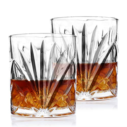 Crystal Whiskey Glasses - Imarku Old Fashioned Glasses for Whiskey, Scotch,Cognac,Bourbon-Liquor Glasses for Men/Women-Set of 2-Luxury Gift Box-Grass