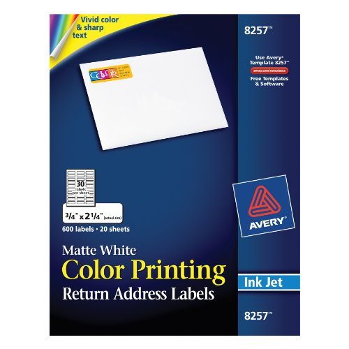 Avery Matte White Color Printing Labels for Inkjet Printers,