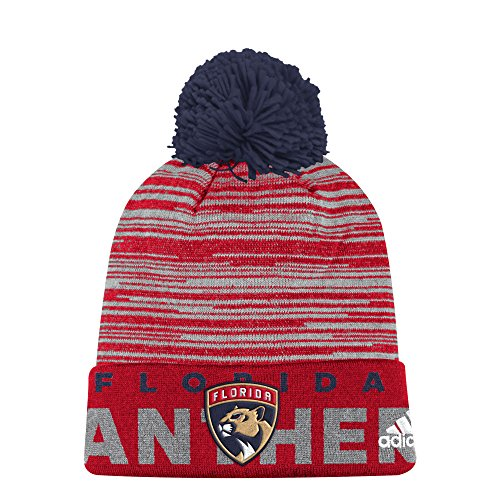 fan products of NHL Florida Panthers Adult Men Pro Authentic Cuffed Pom Knit, One Size, Red
