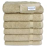 SALBAKOS Luxury Hotel & Spa Turkish Cotton 6-Piece Eco-Friendly Hand Towel Set 16 x 30 Inch, Taupe