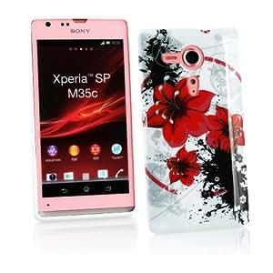 Kit Me Out ES ® Funda de gel TPU + Cargador para coche + Protector de pantalla con gamuza de microfibra para Sony Xperia SP - Blanco / Rojo / Negro Flores orientales