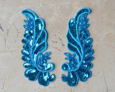Matching Floral Leaf Applique by Shinetrim (Turquoise)