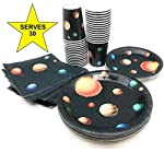 Serves 30 | Complete Party Pack | Outer Space | 9″ Dinner Paper Plates | 7″ Dessert Paper Plates | 9 oz Cups | 3 Ply Napkins | Outer Space Party Theme