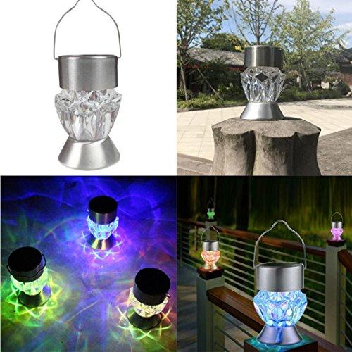 Quaant Solar LED Light,Home Garden Solar Light Bulb Waterproof Solar Rotatable Outdoor Garden Camping Hanging LED Light Diamond Lamp 7 colors Light (clear)
