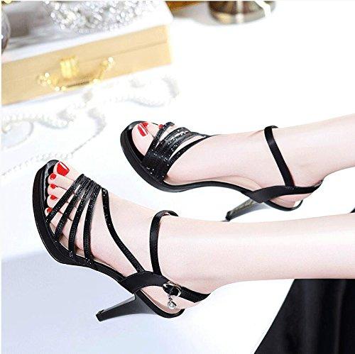 Señoras sandalias de cuero con pendiente toe zapatillas Sandalia de verano ,33 Silver Black