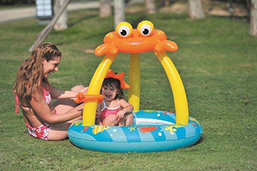"""39"""" Blue and Yellow Inflatable Baby Swimming Pool with Cr..."""
