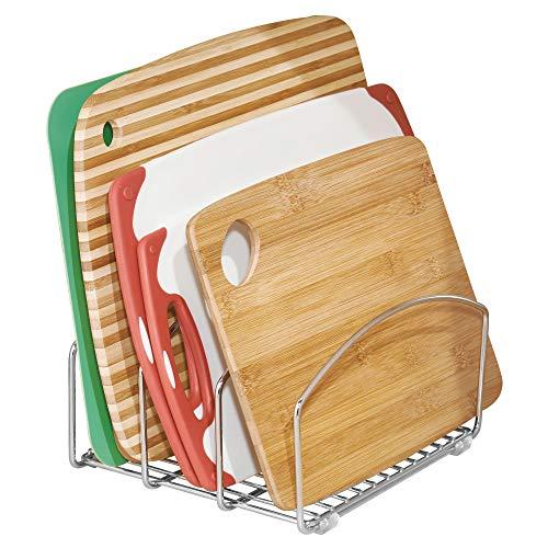 mDesign Juego de 2 organizadores de cocina - Bandeja organizadora con 3 apartados para poner orden en la cocina - Rejilla de metal cromado para tablas de ...