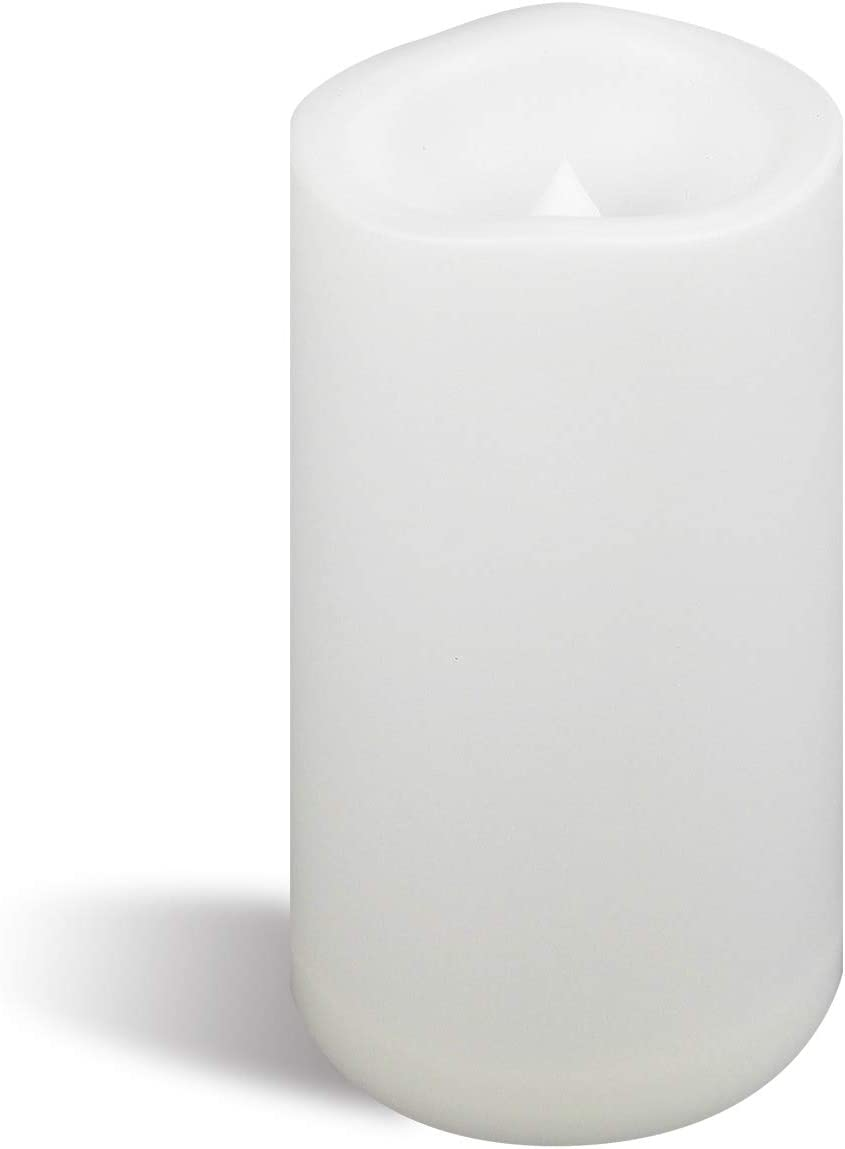 """Large Outdoor Waterproof Battery Operated Flameless Candle with Timer 4""""(D)x6""""(H) Big Plastic Resin Bright Flickering Electric LED Pillar for Lantern Patio Garden Home Decor Party Wedding Decorations"""