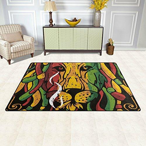 Sunlome Creative Graphics Lion Rasta Area Rug Rugs Non-Slip Indoor Outdoor Floor Mat Doormats for Home Decor 60 x 39 inches