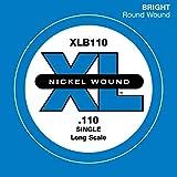 D'Addario XLB110 Nickel Wound Bass Guitar Single String, Long Scale, .110