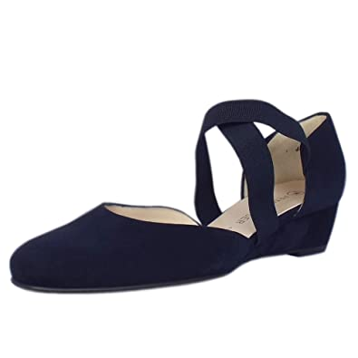 64e0214ad Peter Kaiser Jaila Low Wedge Shoes in Navy Suede: Amazon.co.uk: Shoes & Bags