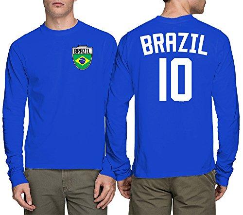Paraguay Soccer T-shirt - HAASE UNLIMITED Long Sleeve Mens Brasil Brazil Brazillian - Soccer, Football T-Shirt (Large, Royal Blue)