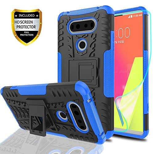 YmhxcY LG V20 Phone Case with HD Screen Protector,Military Armor Drop Tested [Heavy Duty] Hybrid Case with Kickstand for LG V20 (2016)-LT Blue
