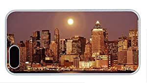 Hipster iphone 5 case rubber cover ny skyline night PC White for Apple iPhone 5/5S