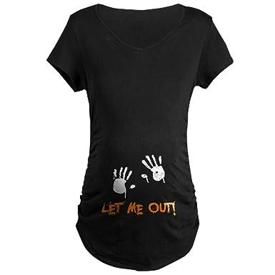 949d62dc1e12a CafePress Let Me Out Cotton Maternity T-shirt, Side Ruched Scoop Neck Black