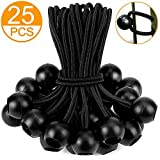 25PCS 6Inch Bungee Cord with Balls (Multiple Elastic Cords) by ZOAN, Reusable Heavy-Duty, Black, Ideal for Projector Screen, Soccer Goals, Tarp, Childproofing, Canopy, Motor Homes, Camping