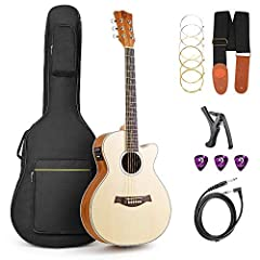 Vangoa 36 Inch 3/4 Acoustic Electric Cutaway Guitar Folk Guitar Spruce wood Travel Guitar, 2 Band EQ with Truss Rod, Capo, Tuner, Extra Strings, Guitar Cable, Picks, Strap and Gig BagDescriptions This Guitar has spruce wood panel, which is li...