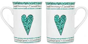 Beautifully Designed 55th Emerald Wedding Set of Ceramic Mugs Dishwasher and Microwave Safe with Decorative Keepsake Box by Happy Homewares