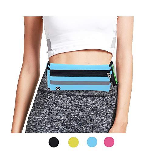 - Flip Running Belt Adjustable, Fashion Fanny Pack with Bottle Holder, Water Resistant Reflective Zipper Waist Pack for Runners, Race, Marathon, Hiking - Men and Women