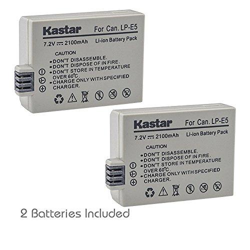 Kastar LP-E5 Battery (2-Pack) for LP-E5, LC-E5E and Canon EOS 450D, 500D, 1000D, Kiss F, Kiss X2, Kiss X3, Rebel XS, Rebel XSi, Rebel T1i Digital Cameras ()